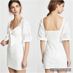 Suboo Blanca Tie Front Mini Dress White Eyelet